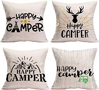 Smilyard Quote Decorative Pillow Covers Happy Camper Pillowcase Cotton Linen Pillow Covers Square Cushion Cover 18x18 Inch for Home Couch Car Pillow Sham Set of 4