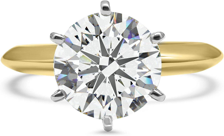 Eternal Jewelry CZ Ring Yellow Gold Wedding Engagement Band 14k Solitaire Cubic Zirconia Swarovski 2 Carat 6 Prong