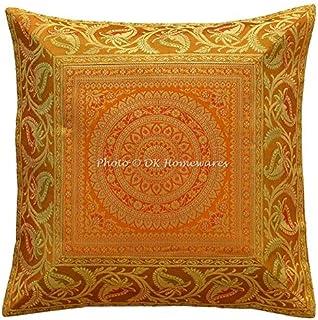 DK Homewares Indien Jacquard Canapé 16x16 Or Brocart Housse de Coussin Mandala Floral Décoration de Maison Carré Taie d'or...