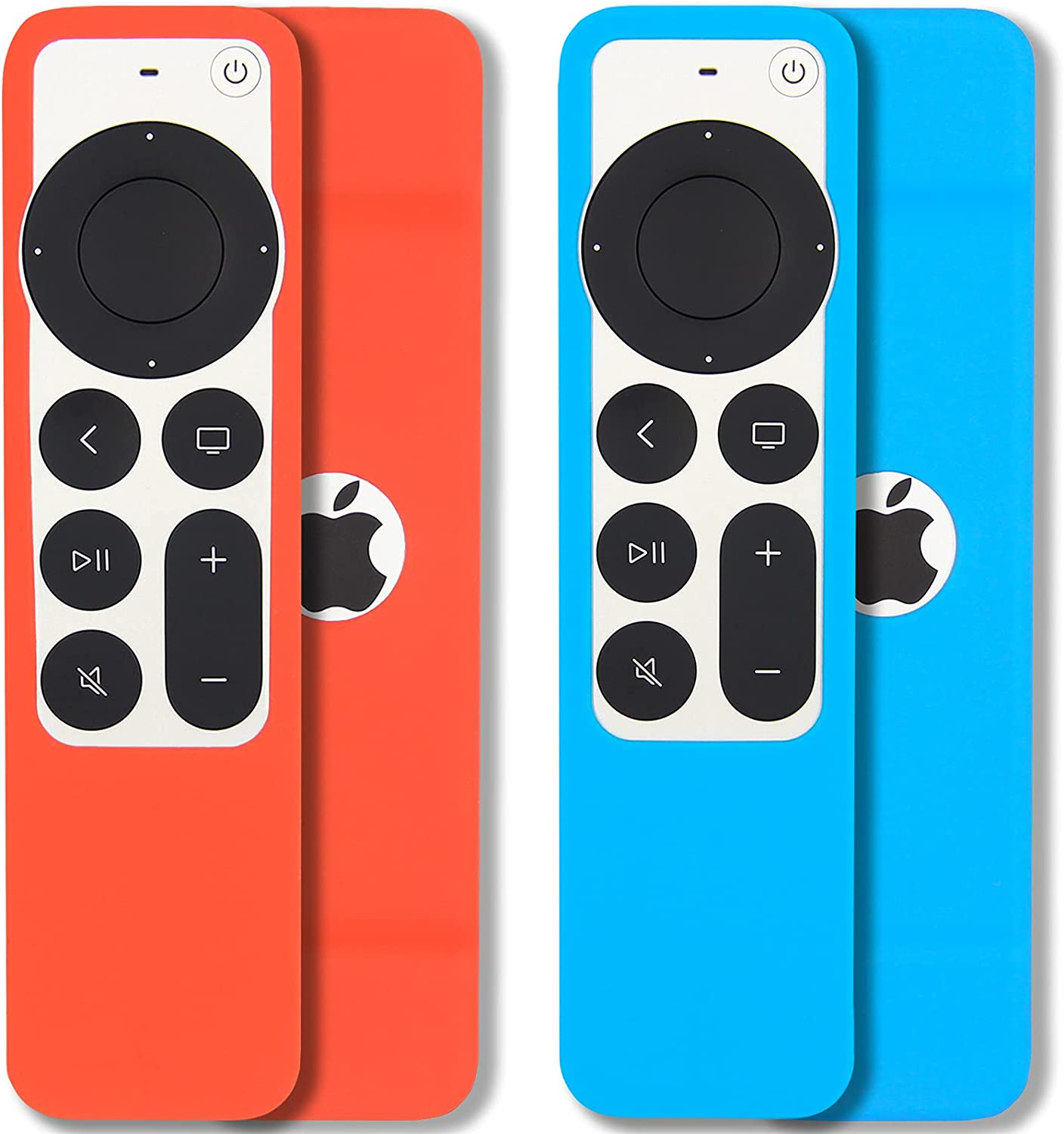 [2 Pack] Pinowu Remote Cover Case Compatible with 2021 Apple TV Siri Remote (2nd Generation) - Lanyard Included, Anti Slip, Shock Absorption Cover Skin (Sky Blue and Red)