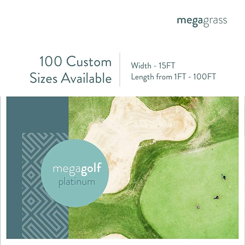 MEGAGRASS 6 x 6 Inches Sample MegaGolf Platinum Artificial Grass for Putting Green Golf Practice Mat - Indoor and Outdoor Synthetic Fake Grass for Golf Games, Pet, and Backyard Decor