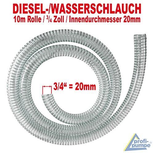 AMUR Dieselschlauch, Benzinschlauch für Ölpumpe, Ölschlauch, Spiralschlauch Saug-/Druckschlauch für Diesel Pumpe Heizöl Pumpe Wasserpumpe (Spiralschlauch 3/4 Zoll - 10m)