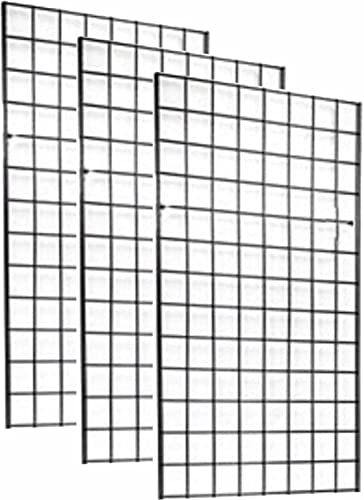"""2' x 4' Foot Commercial Grade Wire Grid Wall Panel Display, 3"""" ON Center 3-Pack, Black"""