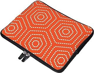 Yilooom Tango Orange Geometric Pattern Neoprene Soft Sleeve Case for MacBook 12 Inch & MacBook Air 11.6 Inch and Laptop up to 12
