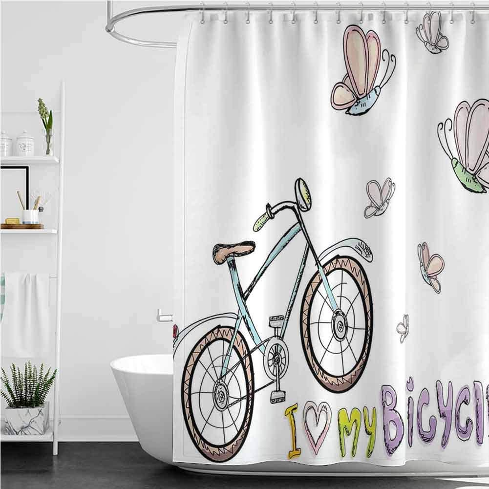Shower Curtains for Kids Unisex Leisure Style Cycling Doodle favorite specialty shop The