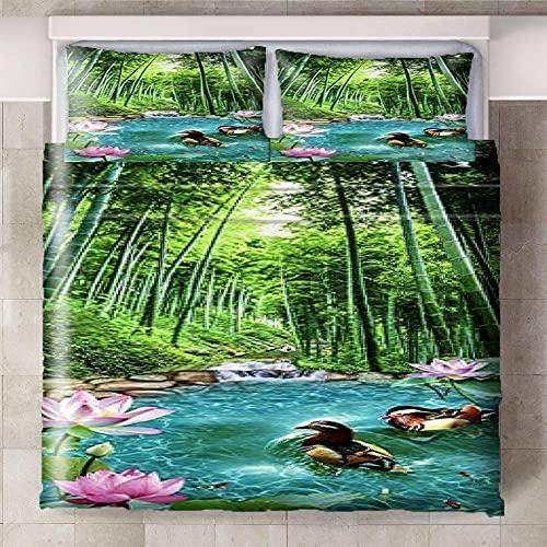 HYBWSO Funda de Edredón para 3D Verde Azul Rosa Selva Lago Flor Pato Juego de Cama 100% Poliéster Suave Transpirable Cierre de Cremallera 140cmx200cm 2 Fundas De Almohada