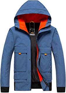 Rmeioel Men's Autumn Winter Casual Fashion Patchwork Hoodie Zipper Outdoor Sport Coat Outwear