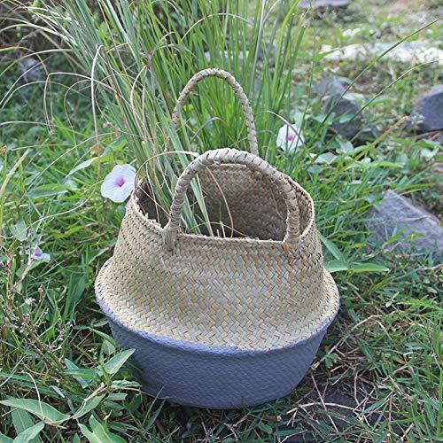 Amyove Decoratie voor thuis, retro seagrass basket opvouwbaar, hangende bloemenbak, bloemenbak, wasmand, korf, tuin, grijs, maat M