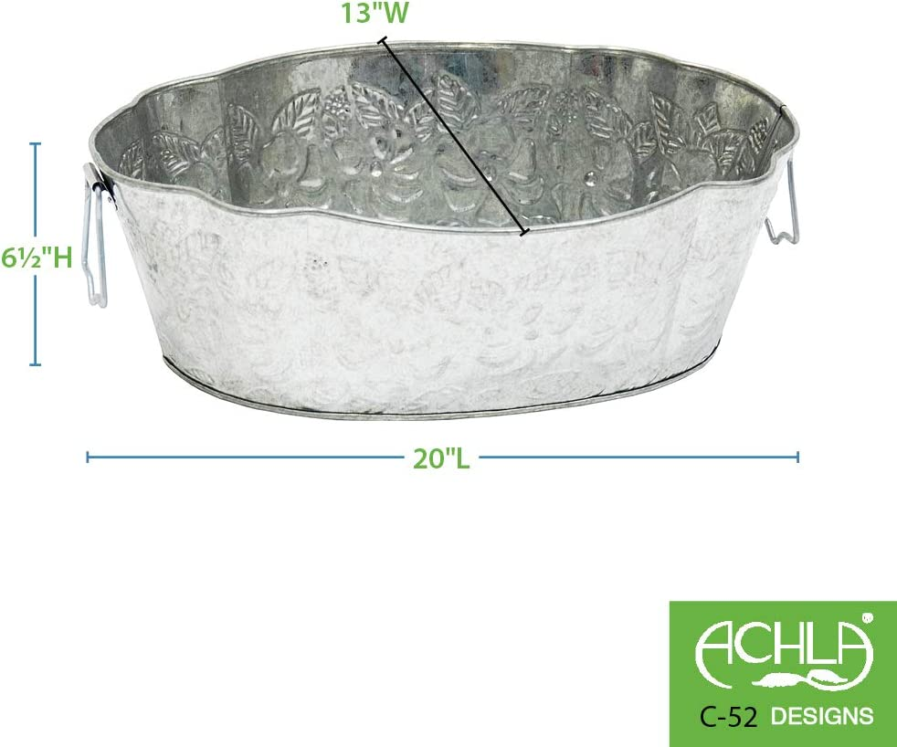 Achla Designs C-52 Embossed Oval Galvanized Steel Tub