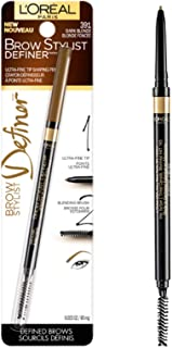 L'Oréal Paris Makeup Brow Stylist Definer Waterproof Eyebrow Pencil, Ultra-Fine Mechanical & Retractable Brow Pencil, Draws Tiny Brow Hairs & Fills in Sparse Areas & Gaps, Dark Blonde, 0.003 oz.