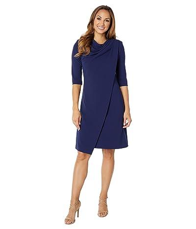 Badgley Mischka Stretch Crepe Short Sleeve Dress