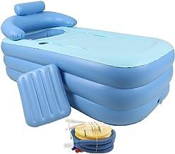 JYKJ Inflatable Bathtub, Household Collapsible Portable Inflatable Bathtub Neck Pillow Relax Swimming Pool with Air Pump Adult PVC Plastic Folding Tub Portable Swimming Pool
