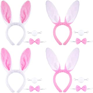 Zonon 12 Pieces Bunny Decoration Kit, Include Pink Bunny Ears Headbands, Bunny Bow Ties and Tails for Halloween Easter Costume Party