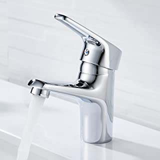 kisimixer Bathroom Sink Tap Modern Basin Mixer Tap Chrome Single Lever Washbasin Faucet Hot and Cold Mixer Taps, One Hole ...