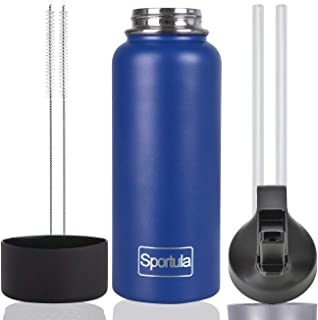 SPORTULA Wide Mouth Water Bottle, Straw Lid, Protective Silicone Boot, Plus Straws with Brushes