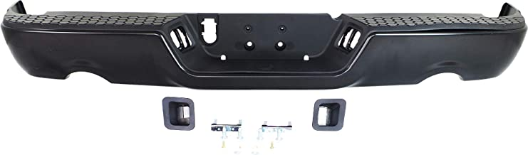 Step Bumper Compatible with DODGE RAM 1500 P/U 2009-2018 Assembly Painted Steel with Dual Exhaust Holes All Cab Types