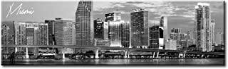 DJSYLIFE Miami Skyline Wall Art Decor Panoramic Cityscape Picture Canvas Prints for Bedroom Office Living Room Decoration Stretched and Framed Ready to Hang 13.8
