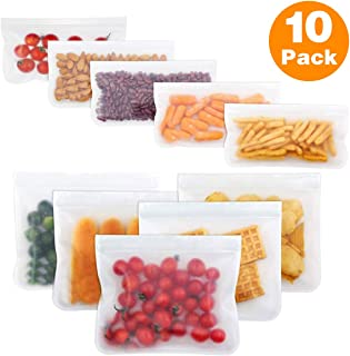 Reusable Sandwich Bags, 10 Pack Reusable Storage Bags (5 Reusable Sandwich Bags & 5 Reusable Snack Bags), Extra Thick Leakproof Easy Seal Ziplock Lunch Bags for Food Storage Home Travel Organization