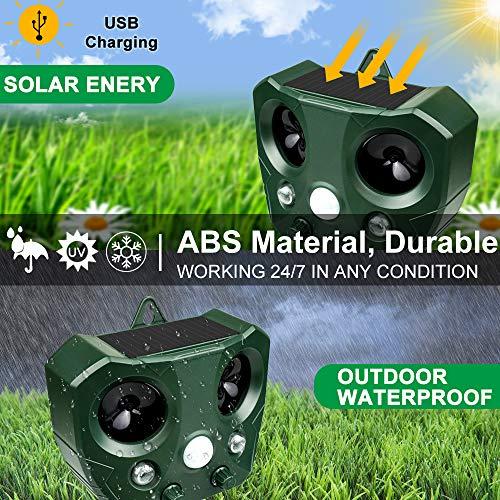 Katzenschreck Ultraschall Solar, Wasserdichte Utraschall Abwehr mit Batteriebetrieben und Blitz 5 Modus Einstellbar Tiervertreiber Ultraschall für Katzen, Hunde, Schädlinge, Rotwild