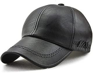 Plain Baseball Cap, Men Adjustable Structured PU Classic Baseball Cap Hat,Winter for Elderly Father
