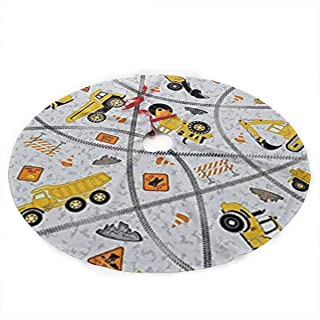 Tinahy6dvj Construction Trucks Zone.webp Luxury Christmas Tree Skirt with Flower Design, Themed with Christmas Ornaments (Not Included)