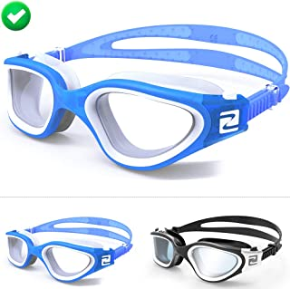 ZABERT W1 Swim Goggles,Pro Swimming Goggles for Women Men Youth Adult Kids Age 8+ Years - Clear Tint Lens Anti Fog UV Quick Adjust Large Size Wide View - Indoor/Open Water - Free Ear Plugs Nose Clip