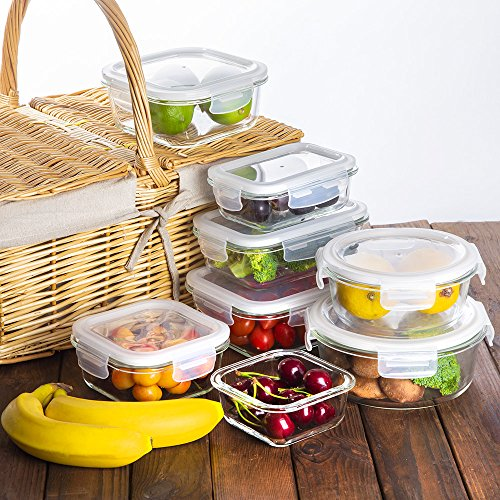 Bayco Glass Storage Containers with Lids, 9 Sets Glass Meal Prep Containers Airtight, Glass Food Storage Containers, Glass Containers for Food Storage with Lids - BPA-Free & Leak Proof