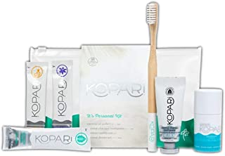 Kopari It's Personal Kit! Included: 3 Coconut Oil Pullers, Coconut Toothpaste, Bamboo Toothbrush And Coconut Deodorant! Body Care and Oral Care! Travel Size Hygiene Kit For Men And Women!
