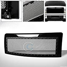 Velocity Concepts Glossy Black Finished Rivet Steel Wire Mesh Front Hood Bumper Grill Grille Cover 2009-2014 for Ford F150