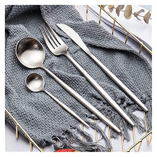 HAOHANYU Juego de cubiertos de acero inoxidable de oro rosa, juego de cubiertos de acero inoxidable occidental, tenedor de lujo, cucharilla, cuchillos, tenedor y cuchara (color: plata)