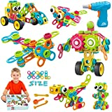 STEM Toys KIT 223 PCS with Drill   Educational Construction Set + Mechanical Screwdriver, Creative Engineering Toy – Building Blocks, Car Wheels and Cogs Learning Set for Boys & Girls 4 5 6+ Years Old