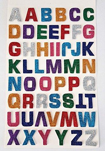 52 Stück selbstklebende, große, bunte, glitzernde, Buchstaben-Aufkleber mit 3D-Effekt von Glitterati