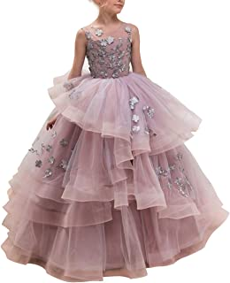 1adad196b7f80 CQDY Floor Length Ball Gown Pageant Big Girl Flower Embroidery Princess  Luxury Puffy Tulle Dress Flower