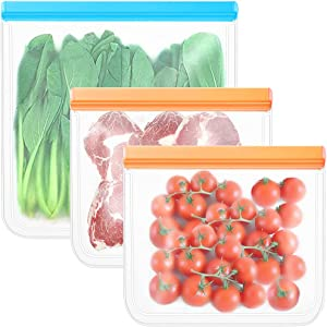 BLOCE Food Storage Bags for Reusable Silicone, 3 Pack BPA FREE Flat Freezer Bags, FDA Grade Leakproof Reusable Vacuum Bags, Lunch Bags For Meat Fruit Cereal Snacks