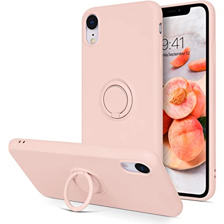 BENTOBEN iPhone XR Case, Slim Silicone | 360°Ring Holder Kickstand | Magnetic Car Mount Soft Rubber Anti-Scratch Non-Slip Shockproof Ptotective Case for iPhone XR 6.1 inch, Sand Pink