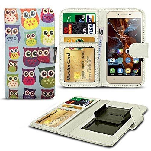 N4U ONLINE® Verschiedene Muster Clip Serie Kunstleder Brieftasche Hülle für Oppo Neo 7 - Eule