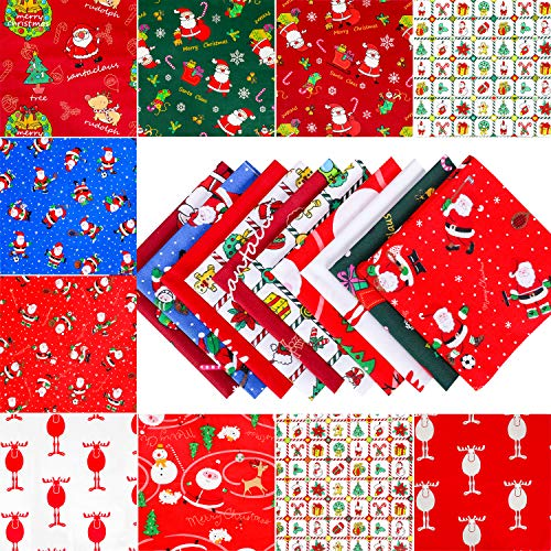 Konsait 10 Pieces 8 x 10inch Random Christmas Fabric Multi-Color Fabric Patchwork Cotton Mixed Squares Bundle Sewing Quilting Craft, Craft Fabric Bundle Squares Patchwork DIY Sewing Scrapbooking Quilting