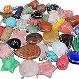 Chenkou Craft Lot en gros de pendentifs et charms en pierre naturelle, jade, turquoise, agate, cristaux, quartz, pierres précieuses, pour bracelets, colliers et bijouterie (mélange de 40 pièces)