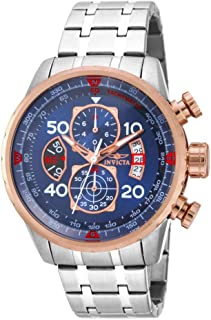 Men's Aviator 48mm Stainless Steel Chronograph Quartz Watch, Silver (Model: 17203)