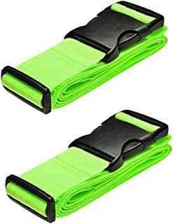 BlueCosto Luggage Strap Suitcase Straps Belts Travel Accessories, 2-Pack, Green