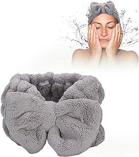 Facial Spa hoofdband, zachte Coral Fleece hoofd wraps voor douche wassen gezicht make-up douche bad Wrap Bow-knoop hoofdba...