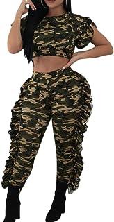 FSSE Womens Ruffle Short Sleeve Crop T-Shirt & Pants Casual Camo 2 Pcs Outfits