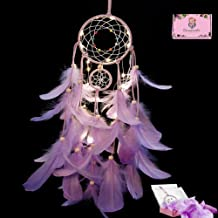 LED Dream Catcher Purple Feather Chandelier Ornaments Handmade Indian Wall Decoration for Wall Decor Hanging Home Decor 20 inch (Purple +Lights)