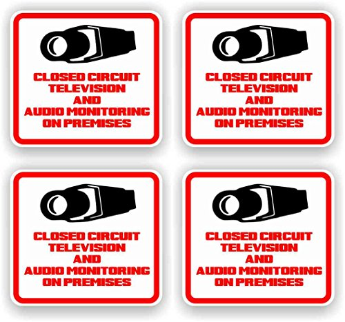 Security Decal - #205 4 Pack Video & Audio Cctv Security Surveillance...