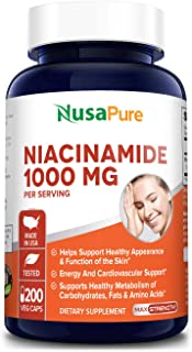 Niacinamide 1000mg 200 Veggie Capsules (Non-GMO & Gluten Free) Flush Free - Energy Booster, Cell Regenerator, That Supports Cognitive Decline, Anti-Aging