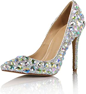 Women's High Heels Wedding Shoes, Wine Glass Heels with A Height of 10 cm Sexy Pointed Closed-Toe High Heels with Diamonds Non-Slip for Wedding Banquets