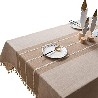 VIMOO Tassel Tablecloth Cotton Linen Washable Table Cover, Kitchen Wedding Restaurant Party Picnic Use (Rectangle,55x102 inch, Linen)
