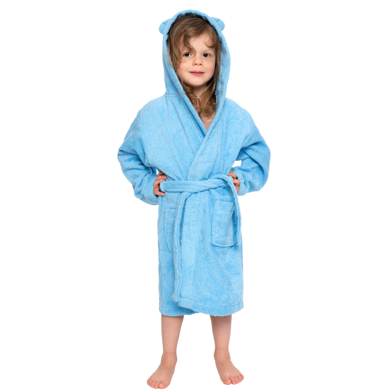 Free from Chemical Products Oeko TEX Girls Dressing Gown 100/% Cotton Boys Dressing Gown with 2 Pockets Hood with Ears Boys Twinzen Bathrobe for Babies