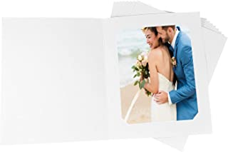 Golden State Art, Acid-Free Photo Folders for 8x10 or 6x8 Picture,Pack of 25 White Cardboard/Paper Frames,Great for Portraits and Photos,Special Events: Graduation,Wedding,PF036