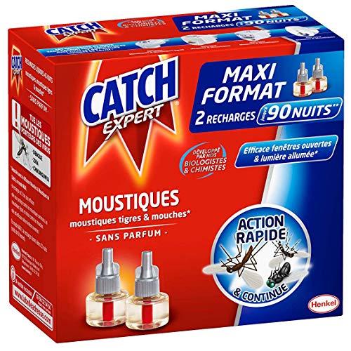 Catch Expert – Recharge Liquide pour Diffuseur Electrique Anti–Moustiques & Moustiques Tigres – Sans Parfum – 2 recharges de 18 ml pour 90 Nuits